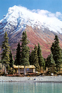 Dick Proenneke's cabin on the shore of Lake Clark